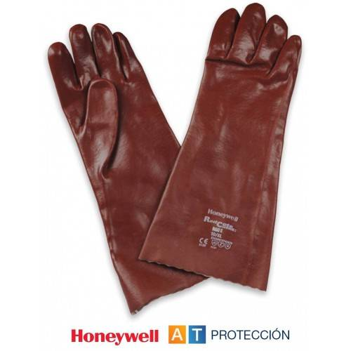 Guantes PVC rojos 40 cm. Honeywell RX60