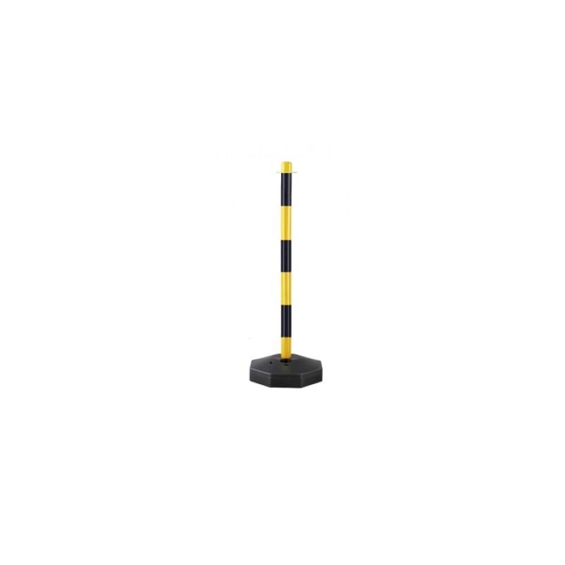 Poste señalización negro-amarillo con base