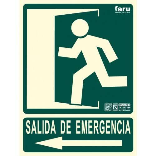 SEÑAL SALIDA DE EMERGENCIA HACIA IZQUIERDA (imagen puerta señalizada e indicadora) 22.4 x 30 cm.