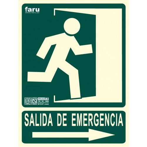 SEÑAL SALIDA DE EMERGENCIA HACIA DERECHA (imagen puerta y flecha señalizada e indicadora) 22.4 x 30 cm.