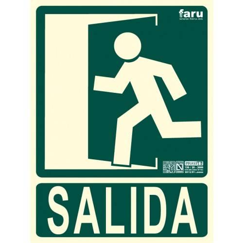 SEÑAL SALIDA HACIA IZQUIERDA (imagen con puerta señalizada) 22.4 x 30 cm.
