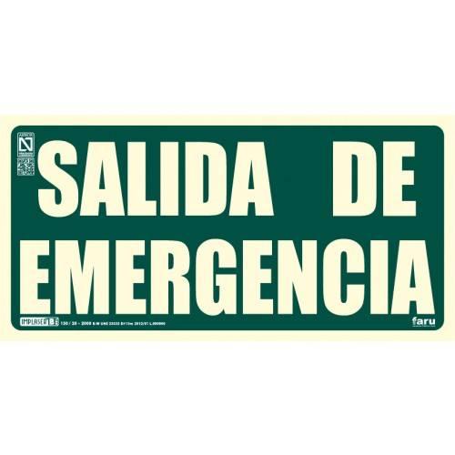 SALIDA DE EMERGENCIA 29.7 x 14.8 cm.
