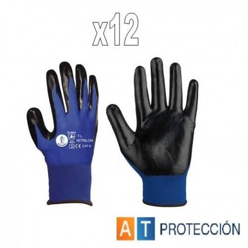 Pack 12 pares guantes nitrilo azul-negro NITRILON