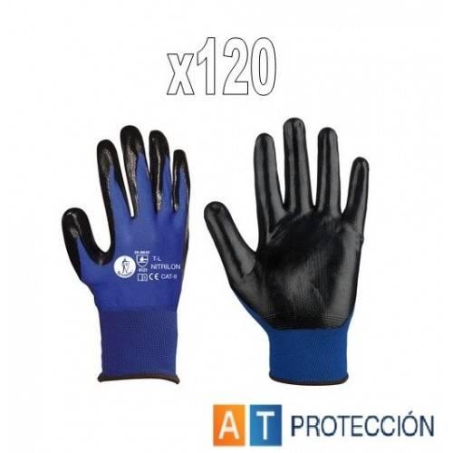 Pack 120 pares guantes nitrilo azul-negro NITRILON