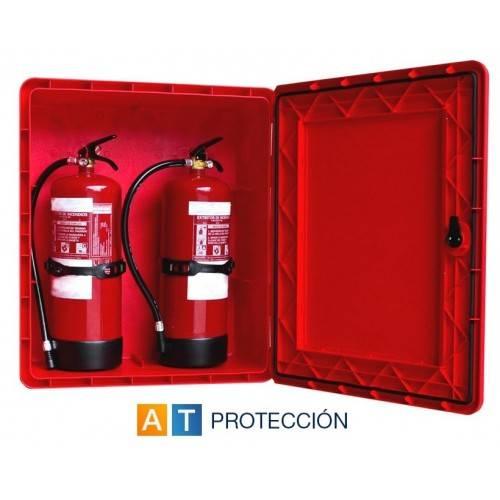 Armario para extintor doble DUPLEX PVC puerta visor
