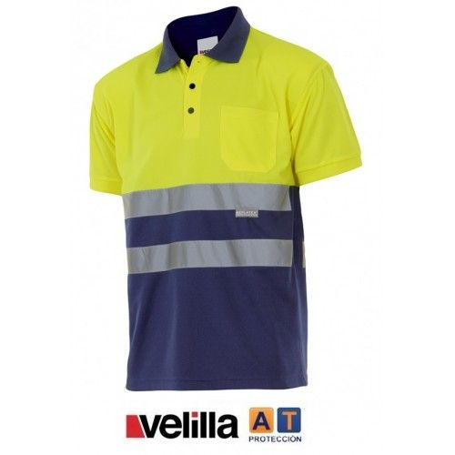 Polo alta visibilidad bicolor manga corta Velilla 173
