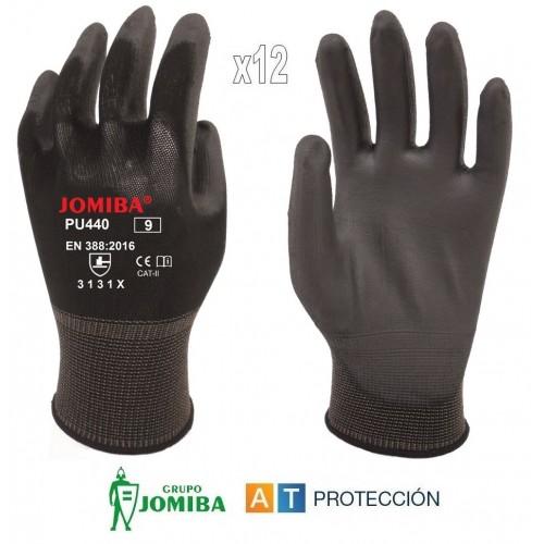 Pack 12 pares guantes de poliuretano negros