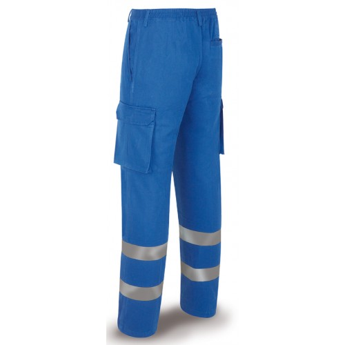 Pantalón de trabajo algodón azulina con bandas reflectantes