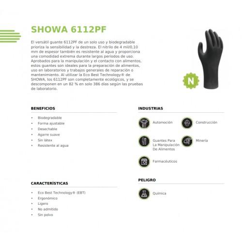 Caja 100 guantes nitrilo Showa 6112PF