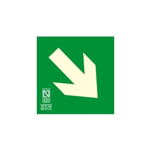 Señal flecha derecha abajo 22.4 x 22.4 cm.
