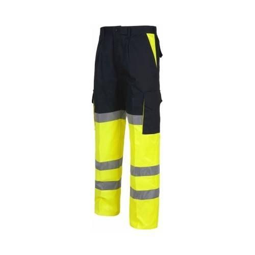 Pantalón alta visibilidad multibolsillos bicolor