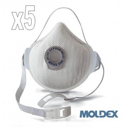 Pack 5 mascarillas Moldex FFP3 con válvula