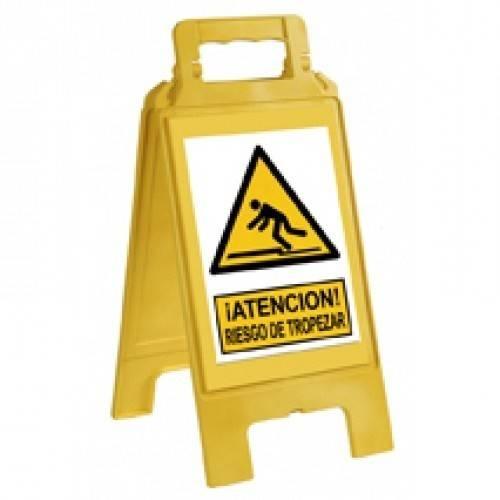 Caballete plegable advertencia neutro amarillo.