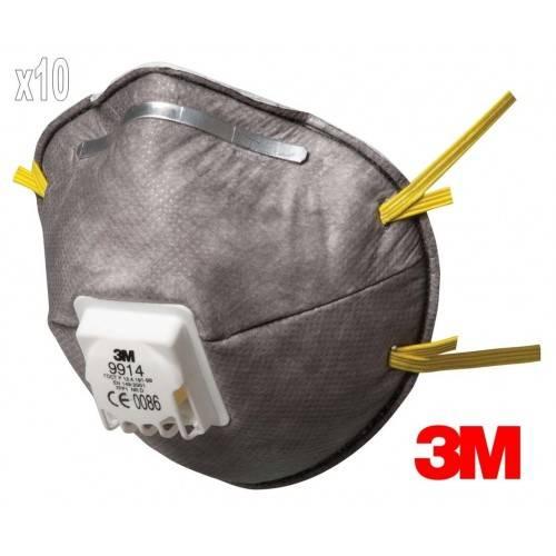 Pack 10 mascarillas 3M 9914 FFP1 c/válvula